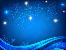 Fondo de la Navidad, copos de nieve de Bokeh, fondo azul, bola roja, fondo del árbol de navidad Imágenes de archivo libres de regalías