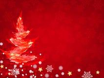 Fondo de la Navidad, copos de nieve de Bokeh, fondo rojo, Fotografía de archivo libre de regalías
