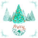 Fondo de la Navidad de la acuarela Foto de archivo