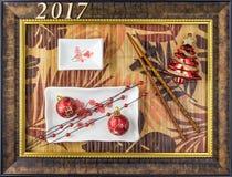 Fondo de la Navidad de la placa del sushi con el marco de la imagen Foto de archivo