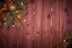 Fondo de la Navidad de madera y del Año Nuevo Fotos de archivo