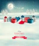 Fondo de la Navidad del día de fiesta con una frontera de las cajas de regalo stock de ilustración