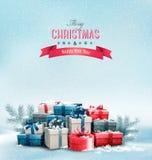 Fondo de la Navidad del día de fiesta con las cajas de regalo Imagen de archivo libre de regalías