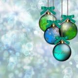 Fondo de la Navidad del ornamento del verde azul stock de ilustración
