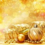 Fondo de la Navidad del oro Imagen de archivo libre de regalías