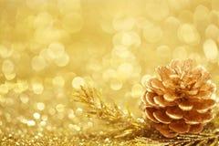 Fondo de la Navidad del oro Imagen de archivo
