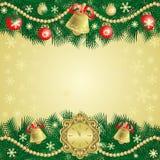 Fondo de la Navidad del oro con las campanas Fotografía de archivo