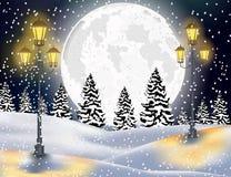 Fondo de la Navidad del paisaje del bosque del invierno Fotos de archivo