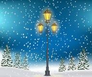 Fondo de la Navidad del paisaje del bosque del invierno Imagen de archivo libre de regalías