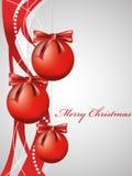 Fondo de la Navidad del vector con las bolas rojas Foto de archivo