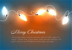 Fondo de la Navidad del vector con las luces de cadena Imagen de archivo libre de regalías