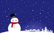 Fondo de la Navidad del vector - muñeco de nieve Foto de archivo libre de regalías