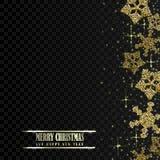 Fondo de la Navidad elegante y del Año Nuevo con los copos de nieve brillantes del oro Ilustración del vector libre illustration