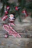 Fondo de la Navidad en los tableros de madera Fotografía de archivo
