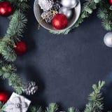 Fondo de la Navidad en negro Imagen cuadrada Foto de archivo