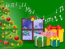 Fondo de la Navidad en ventana Fotografía de archivo