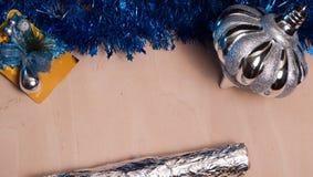 Fondo de la Navidad, juguete, abrigo de la hoja, Imagenes de archivo