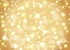 Fondo de la Navidad de las luces y de las estrellas del bokeh Fotografía de archivo
