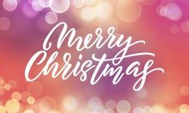 Fondo de la Navidad, llamarada de la falta de definición de las luces de Navidad y chispas del brillo de las letras del día de fi stock de ilustración