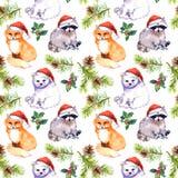 Fondo de la Navidad - los animales lindos en los sombreros rojos del ` s de santa, pino ramifican Relanzar el modelo watercolor stock de ilustración