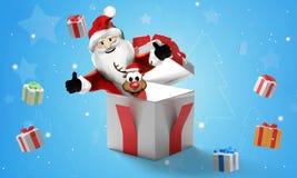 Fondo de la Navidad de los regalos de Navidad 3d-illustration ilustración del vector