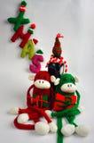 Fondo de la Navidad, mono, botella de vino, Navidad Fotografía de archivo