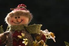 Fondo de la Navidad, muñeco de nieve alegre Foto de archivo libre de regalías