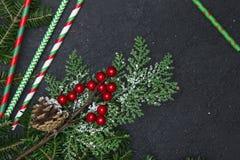 Fondo de la Navidad negra o del Año Nuevo con un marco Foto de archivo libre de regalías