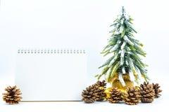 Fondo de la Navidad o del Año Nuevo con el cuaderno de notas en blanco, conos del pino, Imagen de archivo libre de regalías