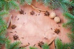 Fondo de la Navidad para la postal de Navidad Palillos de canela, estrellas del anís y clavos en fondo de madera Fotografía de archivo libre de regalías