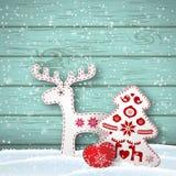 Fondo de la Navidad, pequeñas decoraciones diseñadas escandinavas en la pared de madera azul delantera del od, ejemplo ilustración del vector