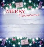 Fondo de la Navidad, regalos de la Navidad Fotografía de archivo libre de regalías