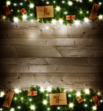 Fondo de la Navidad, regalos de la Navidad Foto de archivo