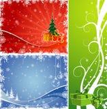 Fondo de la Navidad tres con el árbol y el regalo Foto de archivo