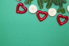 Fondo de la Navidad verde del uno-color o del Año Nuevo con diseño minimalistic Fotos de archivo libres de regalías