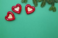 Fondo de la Navidad verde del uno-color o del Año Nuevo con diseño minimalistic Foto de archivo libre de regalías