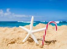 Fondo de la Navidad y de la Feliz Año Nuevo en la playa tropical Imagen de archivo