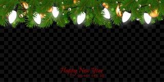 Fondo de la Navidad y del Año Nuevo con la decoración festiva garlan stock de ilustración