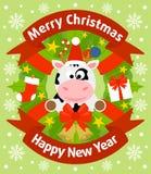 Fondo de la Navidad y del Año Nuevo con la vaca Imágenes de archivo libres de regalías