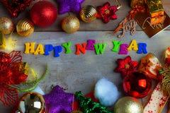 Fondo de la Navidad y del Año Nuevo con las decoraciones Fotografía de archivo