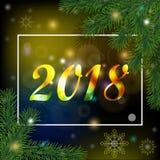 Fondo 2018 de la Navidad y del Año Nuevo con un marco y un realisti Fotos de archivo