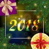Fondo 2018 de la Navidad y del Año Nuevo con un marco y un realisti Fotografía de archivo libre de regalías
