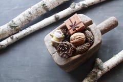 Fondo de la Navidad y del Año Nuevo Objeto del pino Cones Papá Noel con el regalo Imagen de archivo