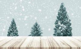 Fondo de la Navidad y del Año Nuevo Sobremesa de madera con la falta de definición Ch Foto de archivo