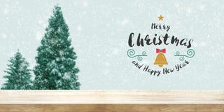 Fondo de la Navidad y del Año Nuevo Sobremesa de madera con la falta de definición Ch Imagenes de archivo