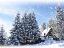 Fondo de la nieve Abetos Cabaña de la montaña Imagenes de archivo