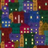Fondo de la noche de casas coloridas Imagen de archivo