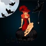 Fondo de la noche de Halloween con el castillo, la bruja y las calabazas espeluznantes Imágenes de archivo libres de regalías