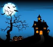 Fondo de la noche de Halloween con el castillo y las calabazas Imágenes de archivo libres de regalías