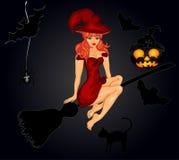 Fondo de la noche de Halloween con la bruja Fotos de archivo